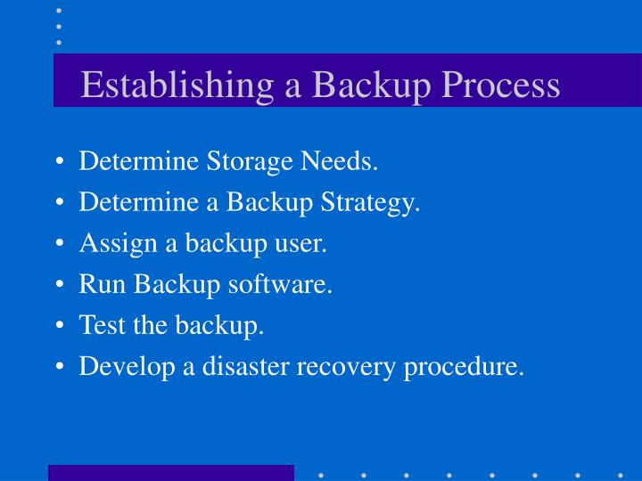 Establishing a Backup Process
