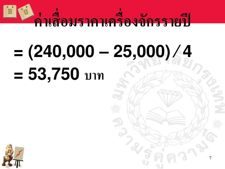 ค่าเสื่อมราคาเครื่องจักรรายปี