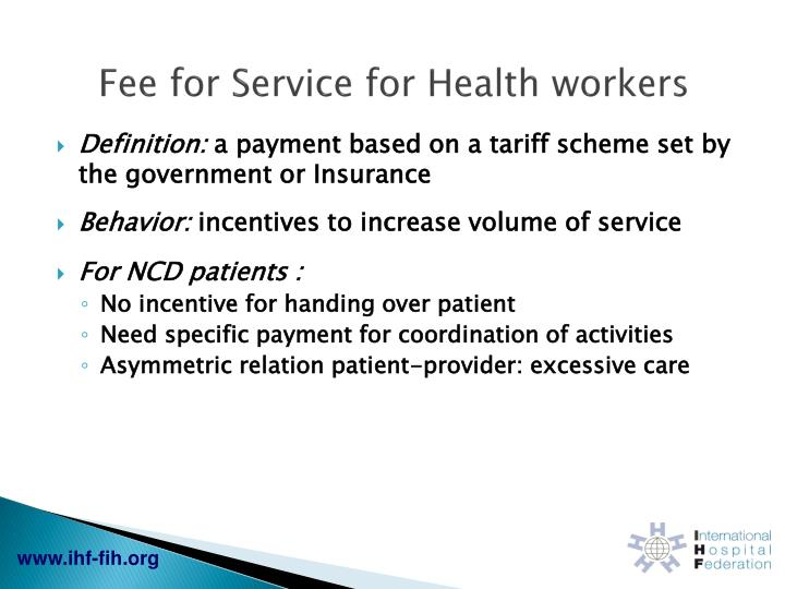 Fee for Service for Health workers