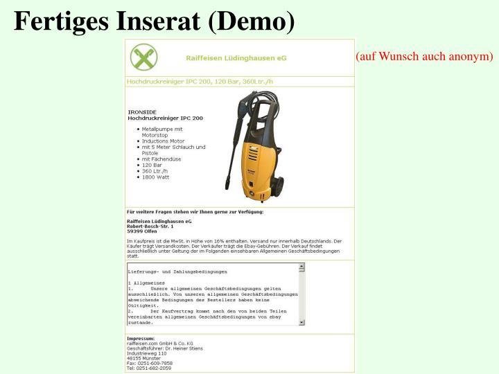 Fertiges Inserat (Demo)