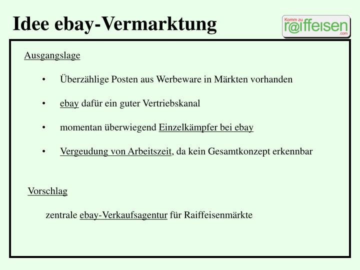 Idee ebay-Vermarktung