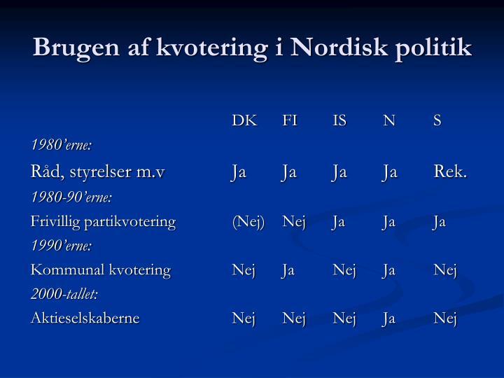 Brugen af kvotering i Nordisk politik