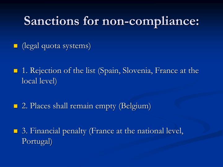 Sanctions for non-compliance: