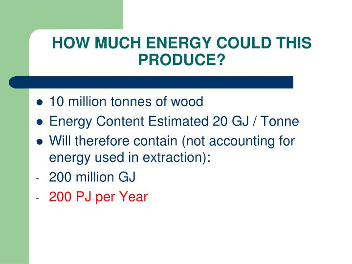 HOW MUCH ENERGY COULD THIS PRODUCE?