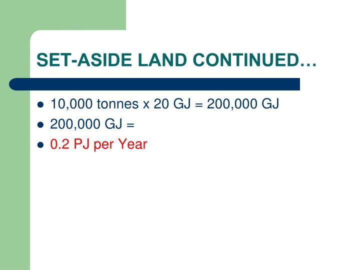 SET-ASIDE LAND CONTINUED…