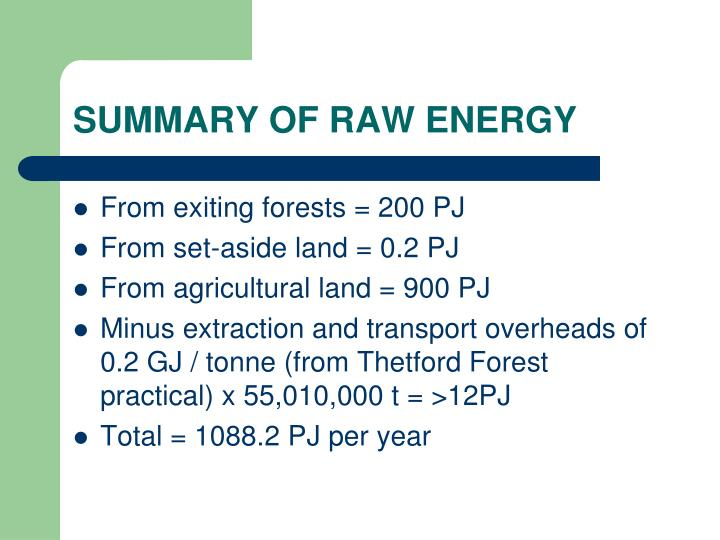 SUMMARY OF RAW ENERGY