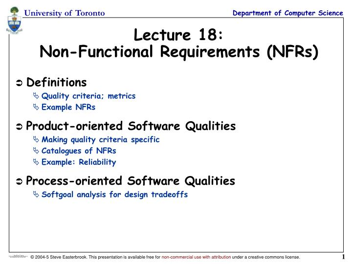 PPT Lecture NonFunctional Requirements NFRs PowerPoint - Functional requirements examples