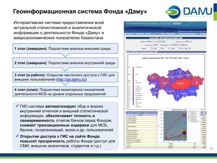 Геоинформационная система Фонда «Даму»