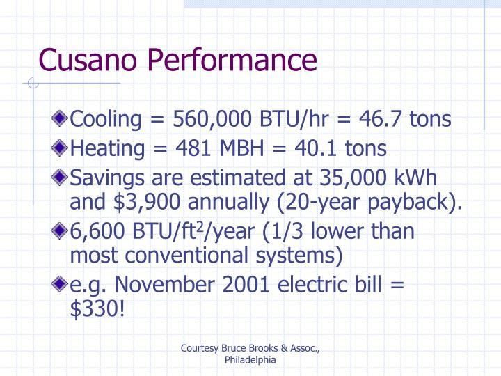 Cooling = 560,000 BTU/hr = 46.7 tons