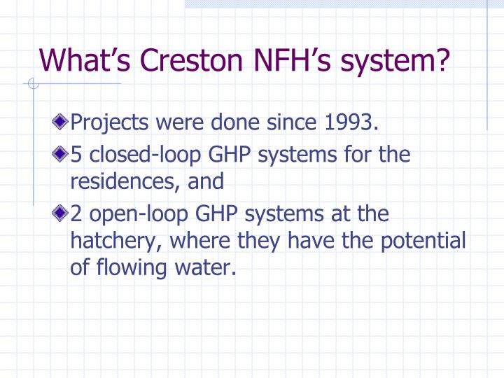 What's Creston NFH's system?