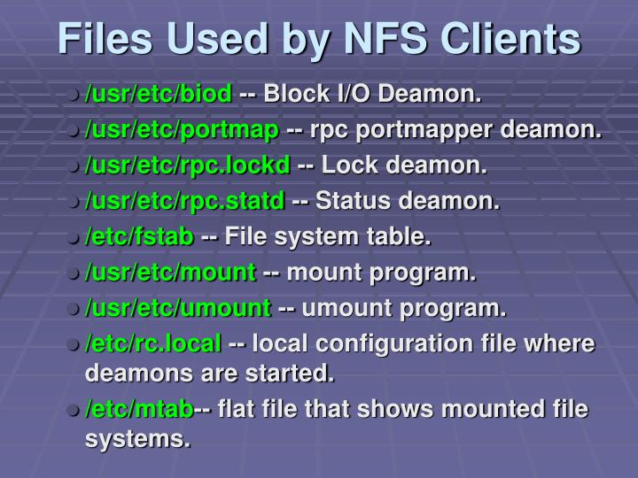 Files Used by NFS Clients