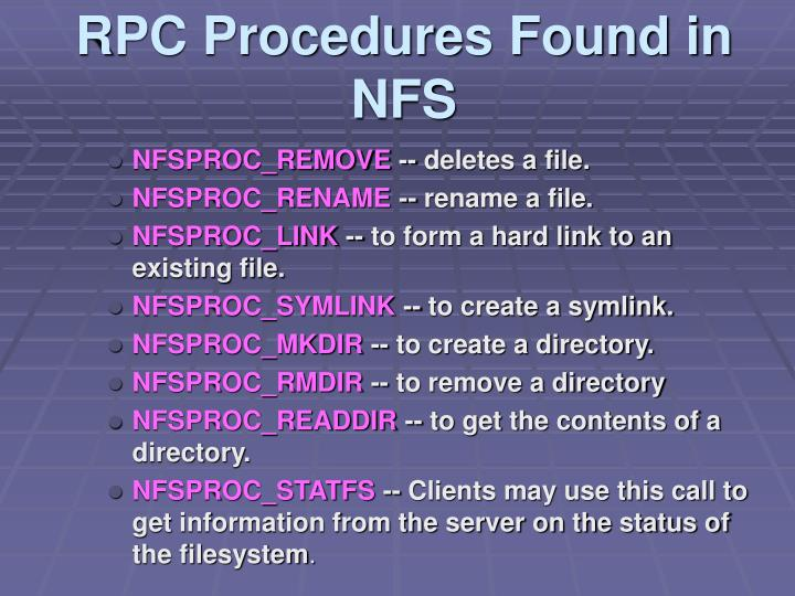 RPC Procedures Found in NFS