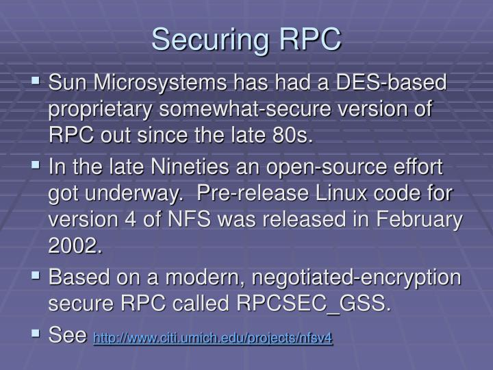 Securing RPC