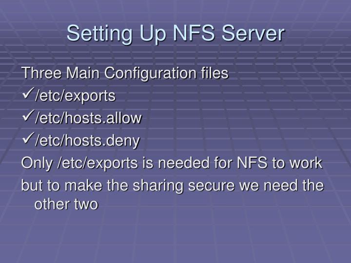 Setting up nfs server