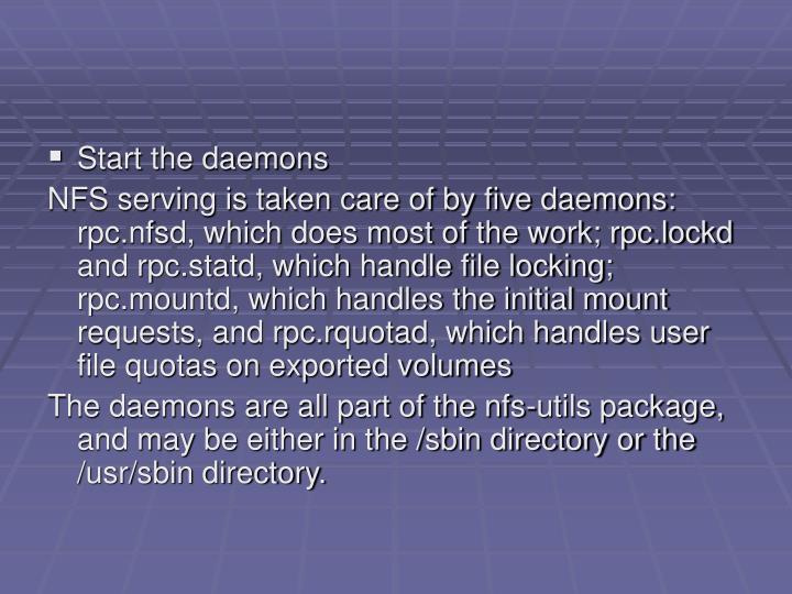 Start the daemons