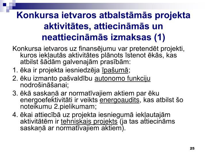 Konkursa ietvaros atbalstāmās projekta aktivitātes, attiecināmās un neattiecināmās izmaksas (1)