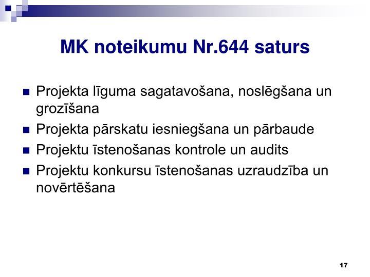 MK noteikumu Nr.644 saturs