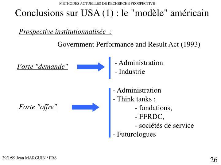 """Conclusions sur USA (1) : le """"modèle"""" américain"""