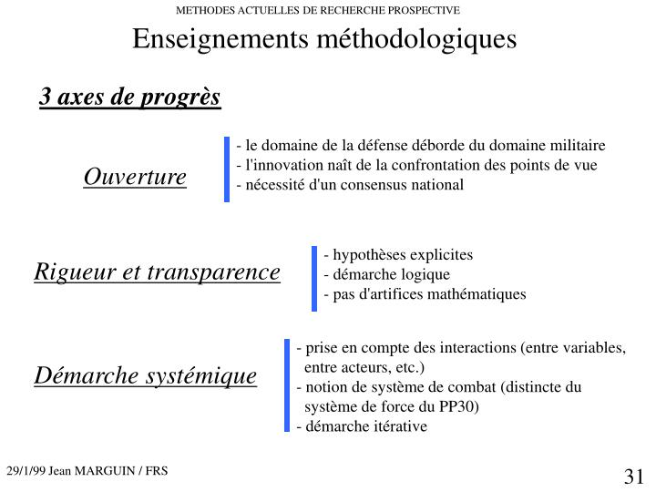 Enseignements méthodologiques