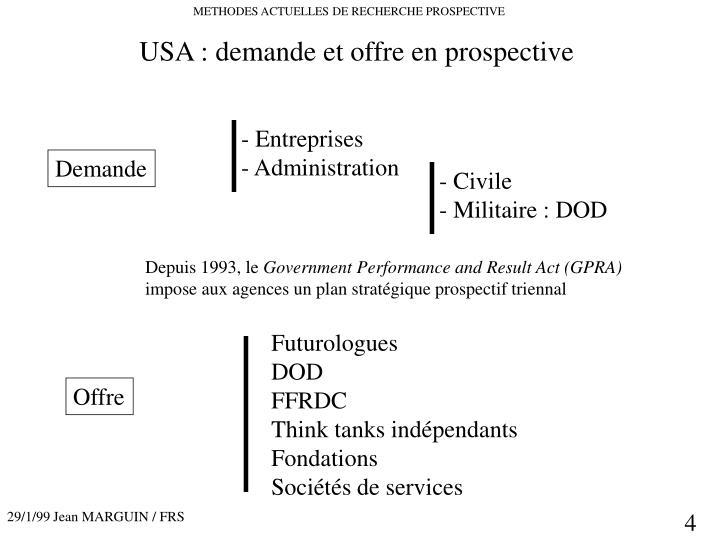 USA : demande et offre en prospective