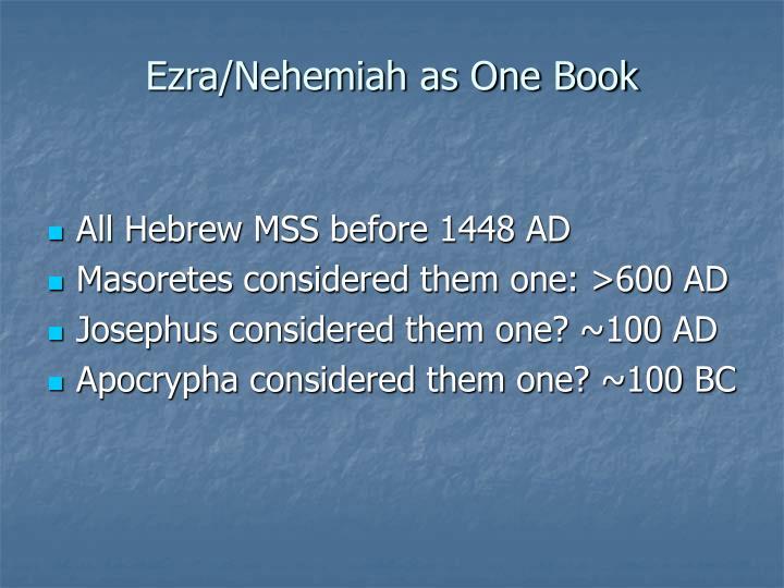 Ezra nehemiah as one book