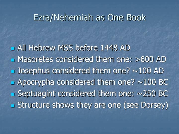 Ezra/Nehemiah as One Book