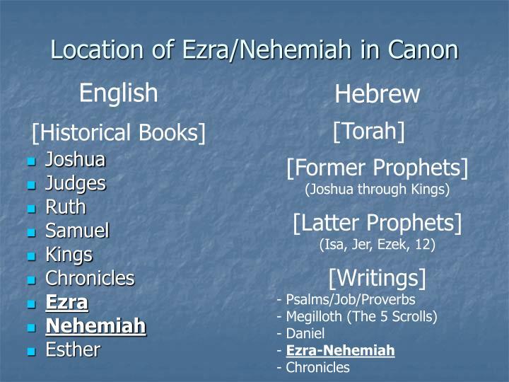 Location of Ezra/Nehemiah in Canon
