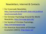 newsletters internet contacts