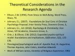 theoretical considerations in the research agenda