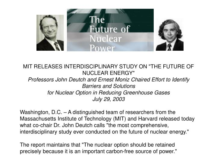 """MIT RELEASES INTERDISCIPLINARY STUDY ON """"THE FUTURE OF NUCLEAR ENERGY"""""""