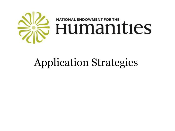 Application Strategies