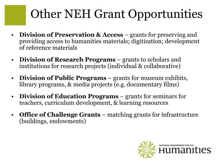 Other NEH Grant Opportunities