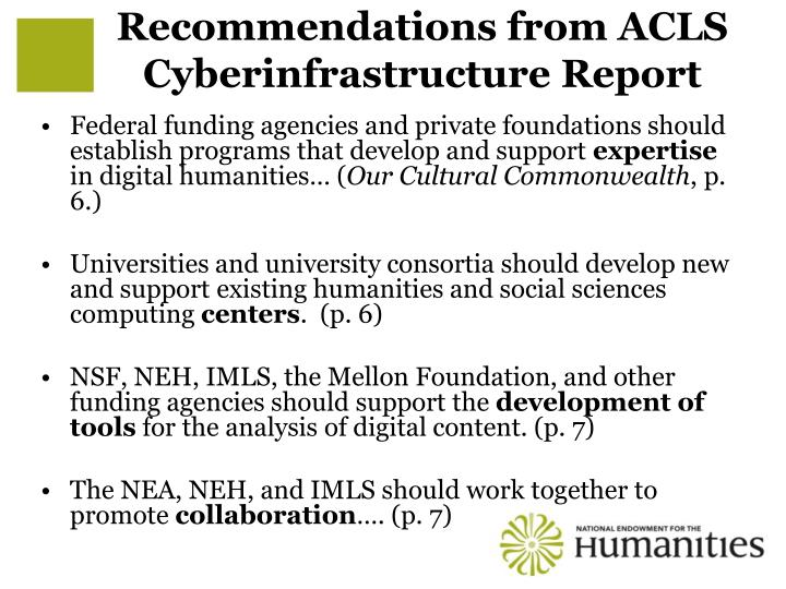 Recommendations from ACLS Cyberinfrastructure Report