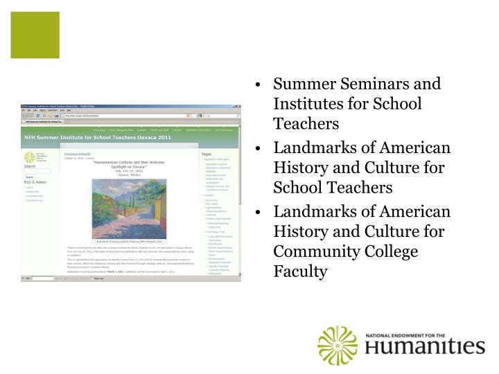 Summer Seminars and Institutes for School Teachers
