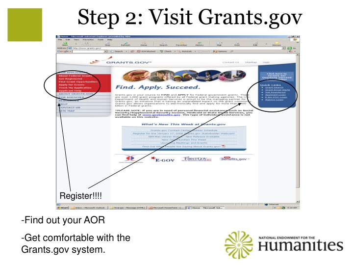 Step 2: Visit Grants.gov