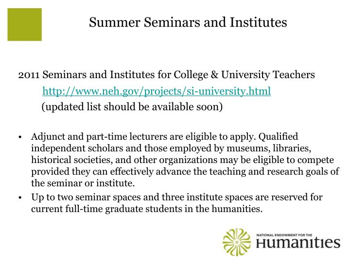 Summer Seminars and Institutes