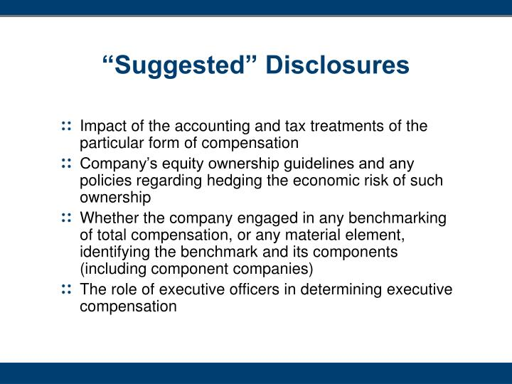 """""""Suggested"""" Disclosures"""