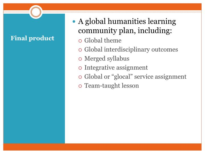 A global humanities learning community plan, including: