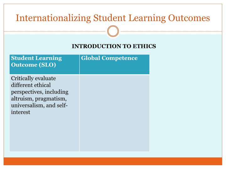 Internationalizing Student Learning Outcomes