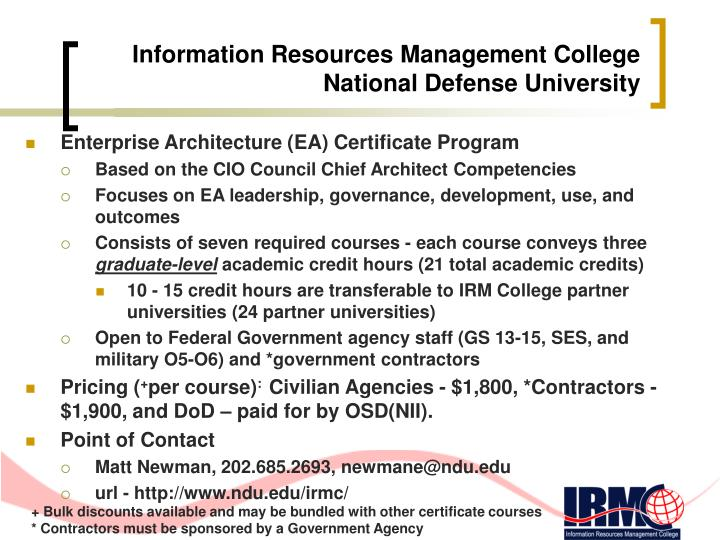 Information resources management college national defense university