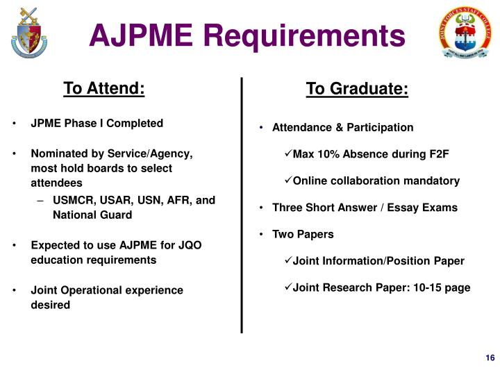 AJPME Requirements