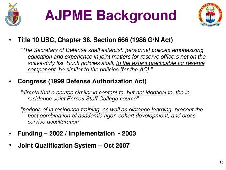 AJPME Background