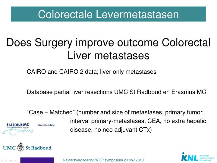 Does Surgery improve outcome Colorectal Liver metastases