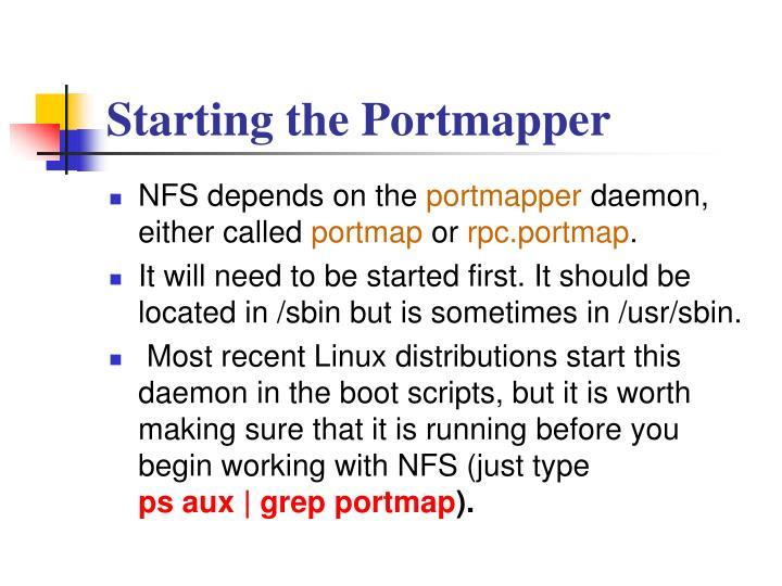 Starting the Portmapper