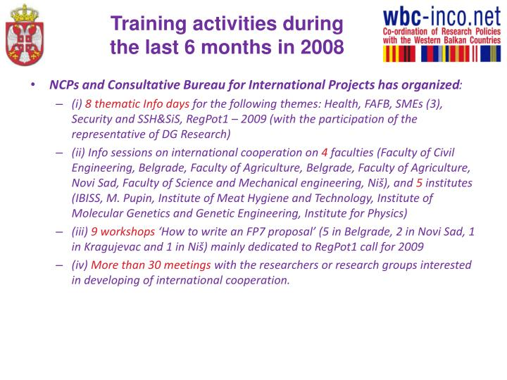 Training activities during