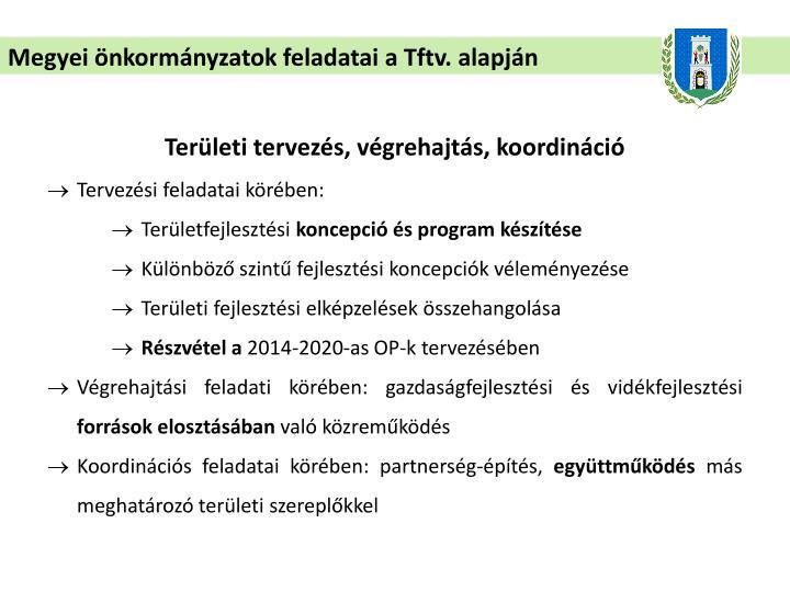 Megyei önkormányzatok feladatai a Tftv. alapján