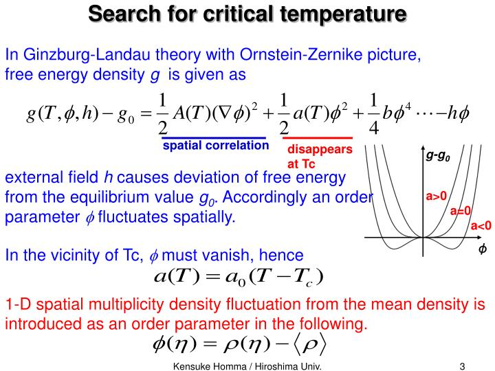 Search for critical temperature
