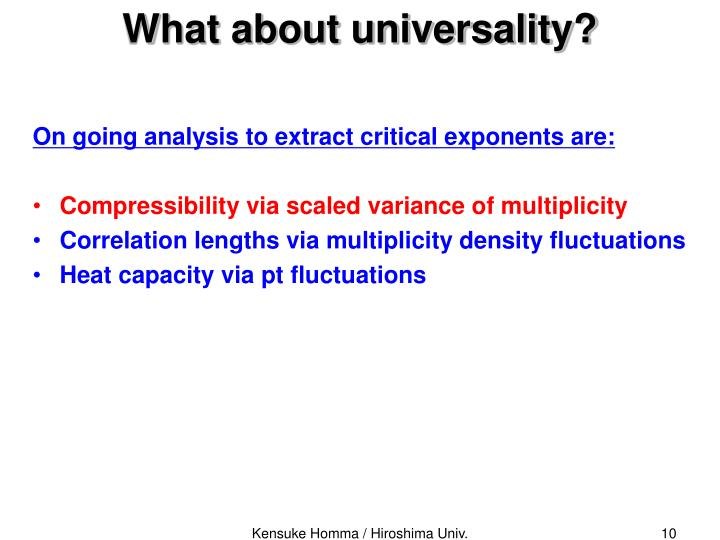 What about universality?