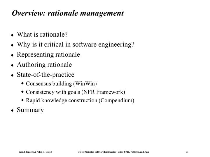 Overview rationale management
