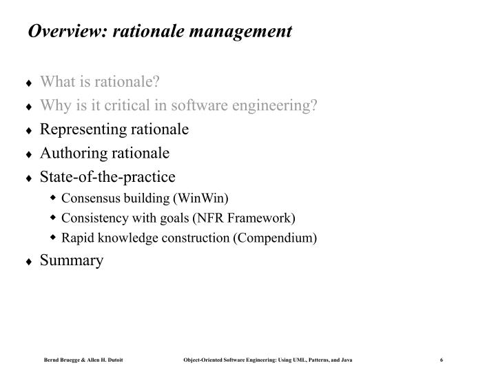 Overview: rationale management
